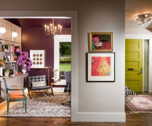 Entry and office in bold colors with mid-century modern architecture by Obelisk Home
