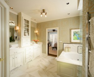 Beautiful master bathroom with neutral inviting colors by Obelisk Home