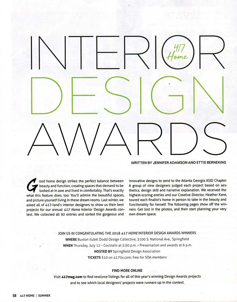 Interior design awards article