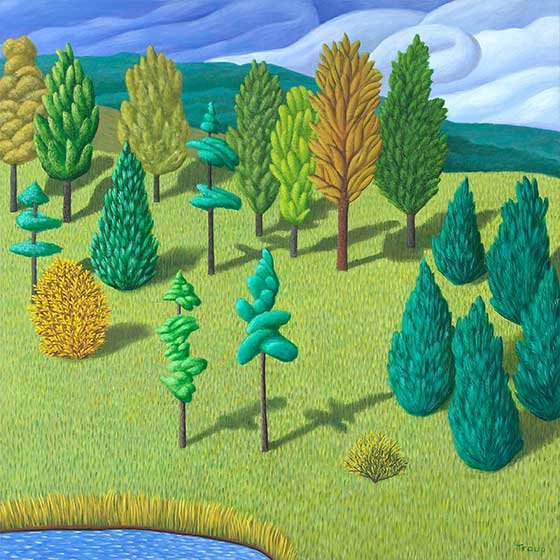 Trees on Hill, by Jane Troup