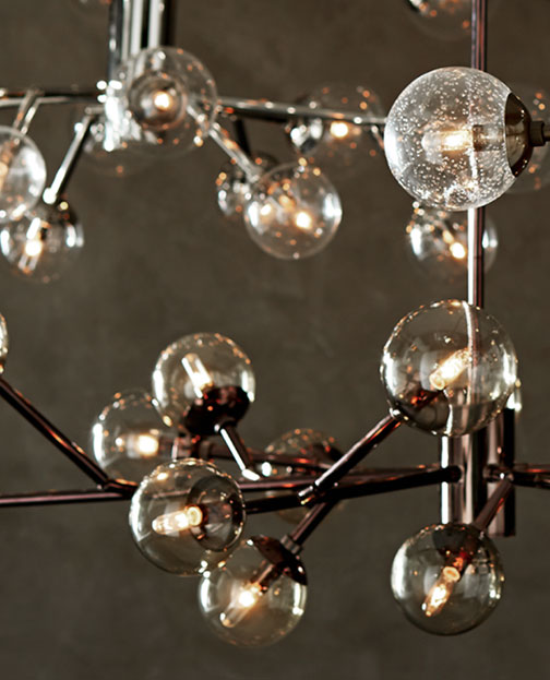 Clear globe chandelier is an example of the many types of lighting that we have in the store