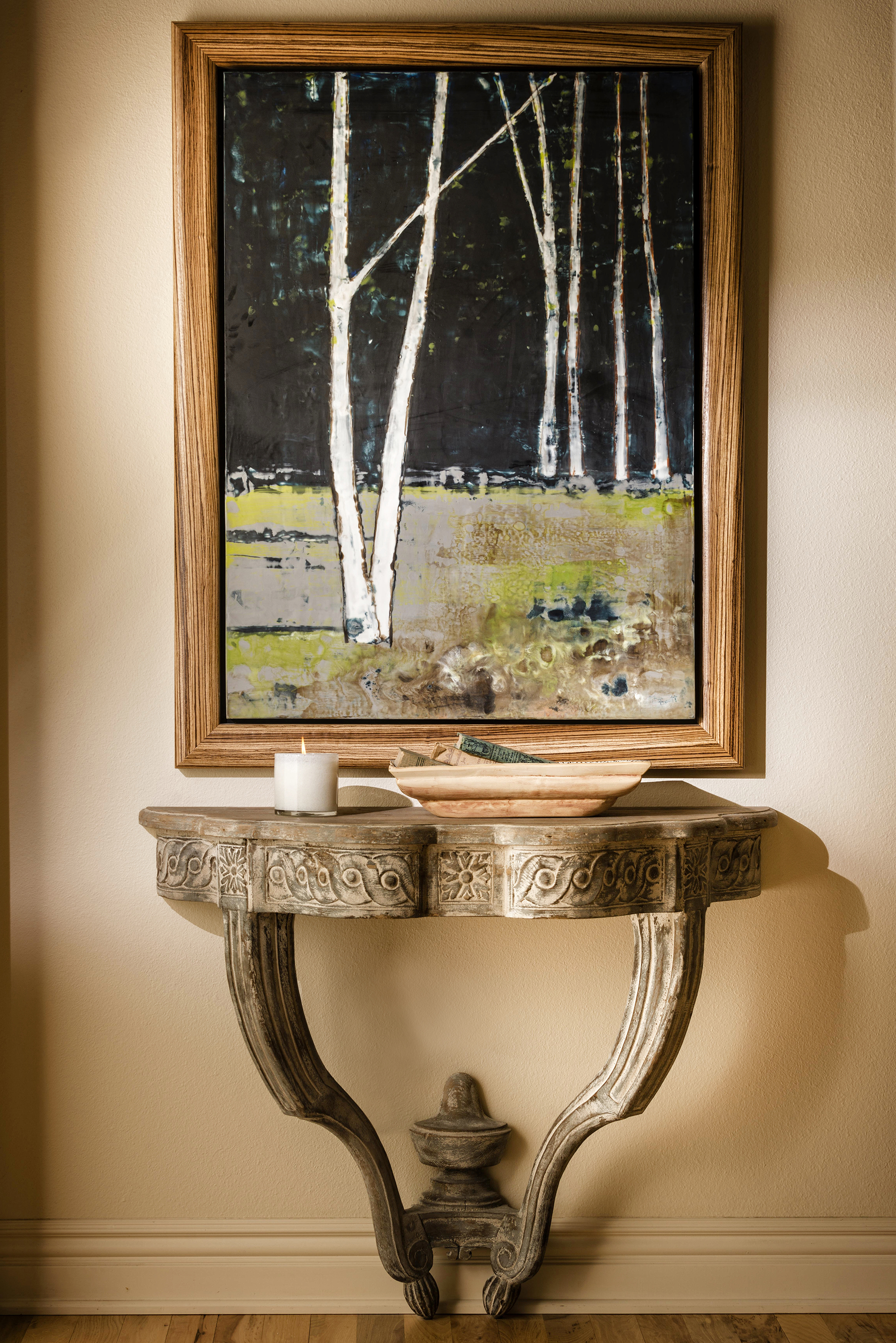 table with painting