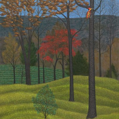 Landscape with Red Tree and Woodpecker