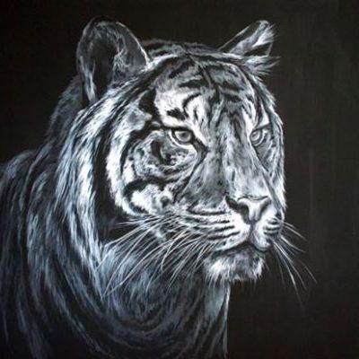 Tiger by Andrea Ehrhardt, Group Blackout Show 2019, Obelisk Home, OH Gallery