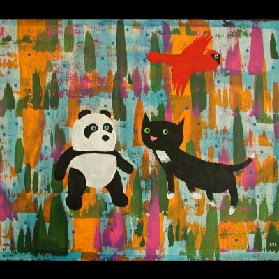 Panda Cat and Cardinal by Doug Erb, Group Blackout Show 2019, Obelisk Home, OH Gallery