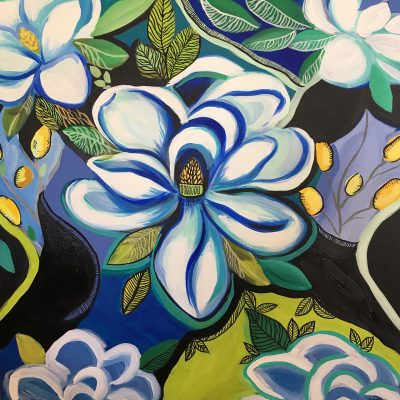 Magnolias at Midnight by Katie Rodick, Group Blackout Show 2019, Obelisk Home, OH Gallery
