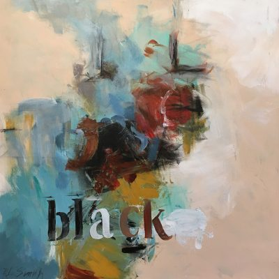 Arts and Letters Black I by Rebecca Lewis Smith, Group Blackout Show 2019, Obelisk Home, OH Gallery