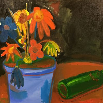 Flowers and a Bottle of Whiskey by Sam Mattax, Group Blackout Show 2019, Obelisk Home, OH Gallery