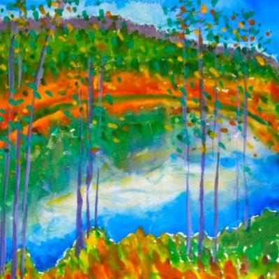 Autumn at the Pond by Karen Schneider, Obelisk Home, OH Gallery