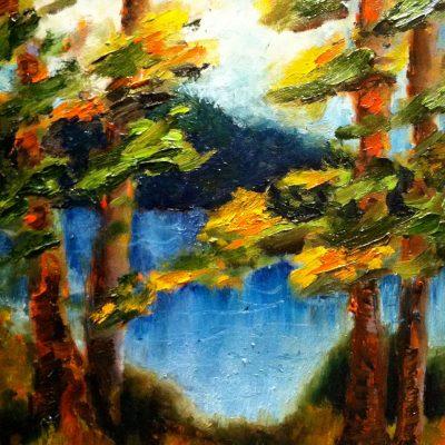 Canadian Sunset Thru the Pines by Karen Schneider, Obelisk Home, OH Gallery