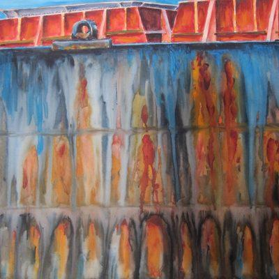 Detail on Ore Boat by Karen Schneider, Obelisk Home, OH Gallery
