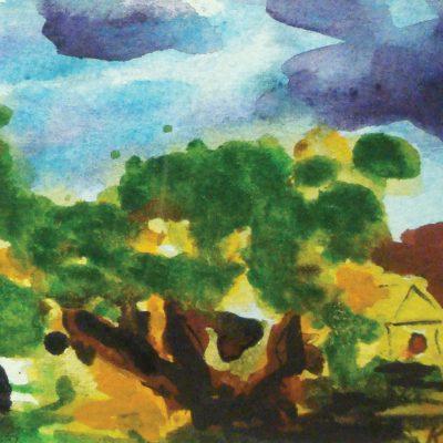 Farm and Sunset by Karen Schneider, Obelisk Home, OH Gallery