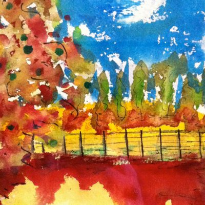 Fence and Field in Red by Karen Schneider, Obelisk Home, OH Gallery