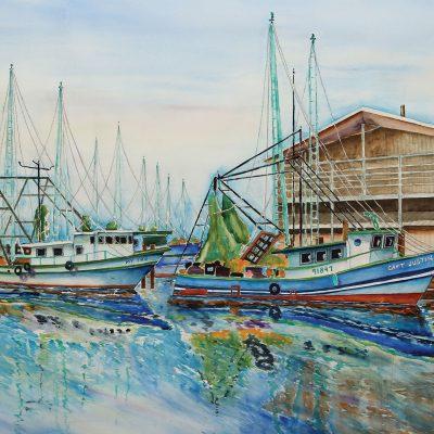Idle Shrimp Boats at Joe Pattis, Pensacola, FL by Karen Schneider, Obelisk Home, OH Gallery