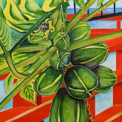 Papayas and Red Bridge at the Buddhist Temple, Windward Oahu by Karen Schneider, Obelisk Home, OH Gallery