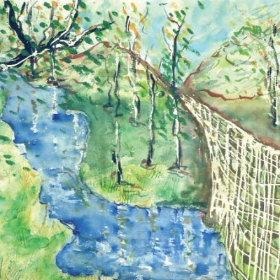 Pearson Creek, Fence and River by Karen Schneider, Obelisk Home, OH Gallery