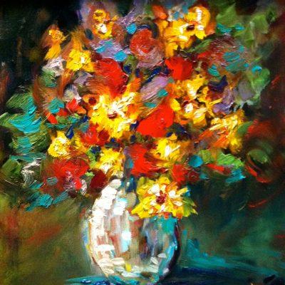 Red Yellow Flowers in Crystal Vase by Karen Schneider, Obelisk Home, OH Gallery